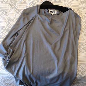 Silver silk, off shoulder top